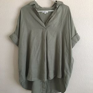 Green collared shirt with back buttons